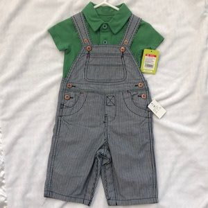 Boy's Oshkosh Striped Overall Set — 6 Months